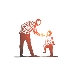 Son father angry scold conflict concept vector