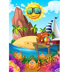 Summer theme with sun and island vector