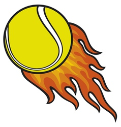 Tennis ball in fire vector