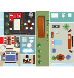 Top view apartment interior set vector