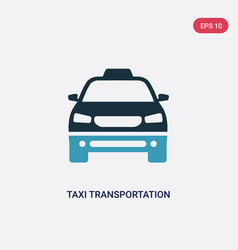 Two color taxi transportation car from frontal vector