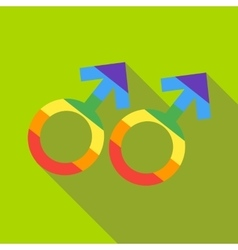 Two male rainbow gender symbols icon flat style vector image