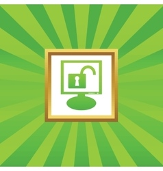 Unlocked monitor picture icon vector image