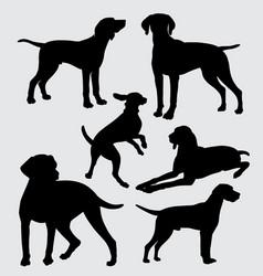 vizsla dog pet mammal animal silhouette vector image