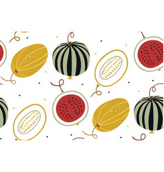 watermelon and melon in a flat style summer vector image