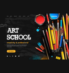 web page design template for art school studio vector image