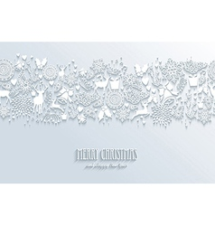 White Merry Christmas and Happy New Year seamless vector