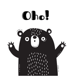 With bear who says - oho for design vector