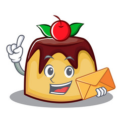 With envelope pudding character cartoon style vector