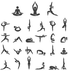 yoga woman poses icons set vector image