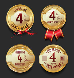 anniversary retro golden labels collection 4 years vector image