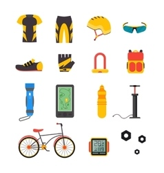 Bicycle and accessories icon set sportive vector