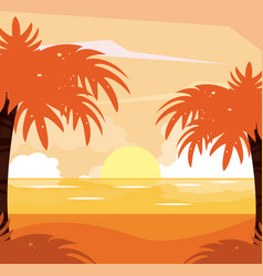 Colorful background of beach sunset landscape vector