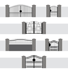 Entrance Gate Door Fence Garden vector image vector image