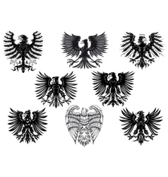 Heraldic royal medieval eagles vector image vector image