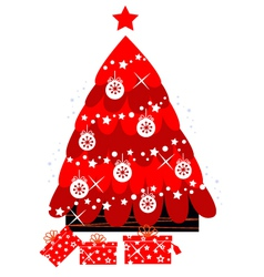 retro christmas tree vector image vector image