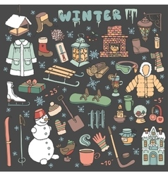 Winteer doodle iconselementsColored kit vector image vector image