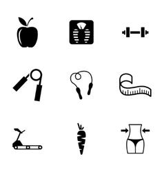 black diet icons set vector image