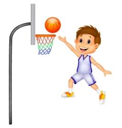 Cartoon boy playing basket ball vector image vector image