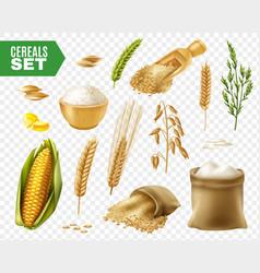 cereals transparent icon set vector image