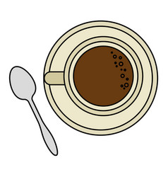 coffee cup with spoon vector image