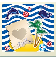 Funny Card with dolphin whale island with palms vector image vector image