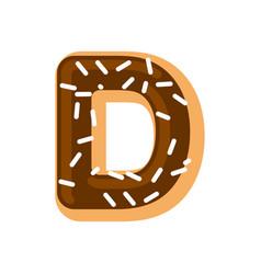 letter d donut font doughnut alphabet sweet vector image vector image