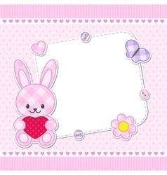 Pink bunny card vector image