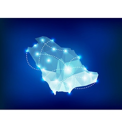 Saudi Arabia country map polygonal with spot vector image vector image