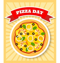 seafruit pizza day vector image vector image