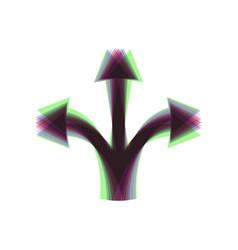 three-way direction arrow sign colorful vector image vector image