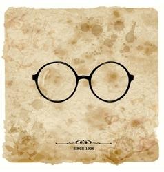 Vintage postcard Glasses label on grunge paper vector image