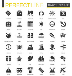 Black classic travel cruise icons set for web vector