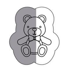 contour teddy bear with tie icon vector image vector image
