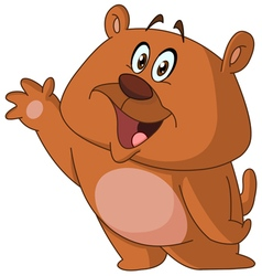 Happy bear waving vector