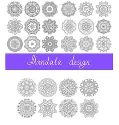 set of 26 mandala design circle ornament vector image