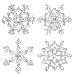 Zentangle winter snowflakes set for christmas new vector