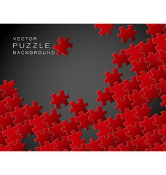 background made from red puzzle pieces vector image