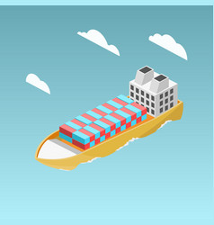 cargo ship with containers isometric vector image vector image