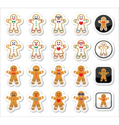 Gingerbread man Christmas icons set vector image vector image