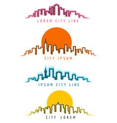 neon city skyline building contours vector image