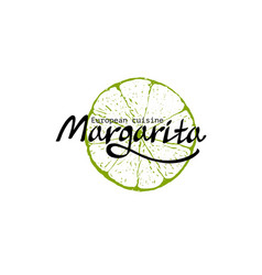 restaurant template with lime margarita sign vector image vector image