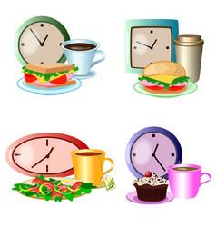 set of lunch break foods clocks and drinks vector image vector image