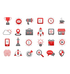 Web gray red icons set vector