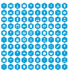 100 dessert icons set blue vector