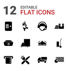 12 service icons vector image
