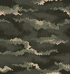 3 color hexagon camouflage pattern in olive vector