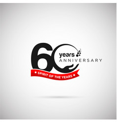 60 years anniversary logo with ribbon and hand vector image