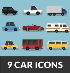 9 Car Set vector image