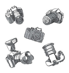 a set slr cameras in different positions vector image